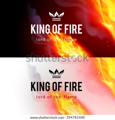 Realistic Fire Flames Effect on Black and White Backgrounds - stock vector