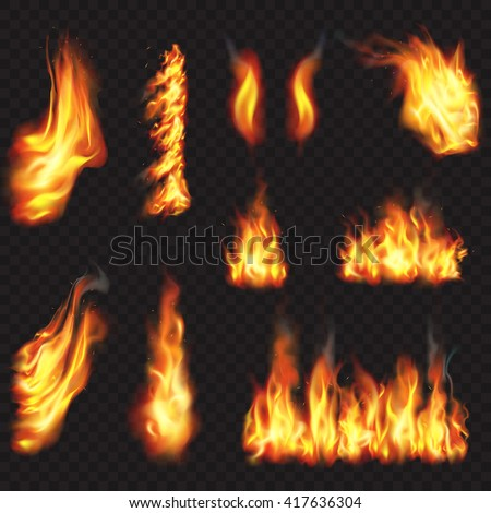 Realistic fire flames effect, vector illustration set.