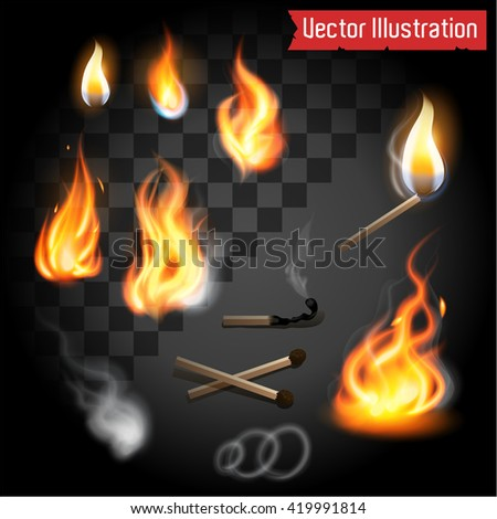 Realistic fire flames set. Matches, smoke, circles and sulfur. - stock vector