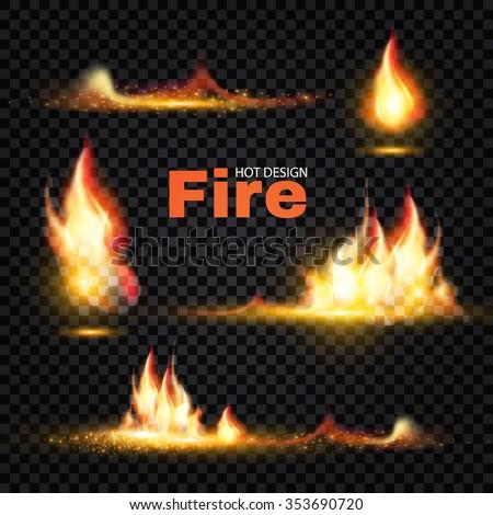 Realistic Fire Flames Set. Transparent Design. Special Translucent Effects. Vector illustration.  - stock vector