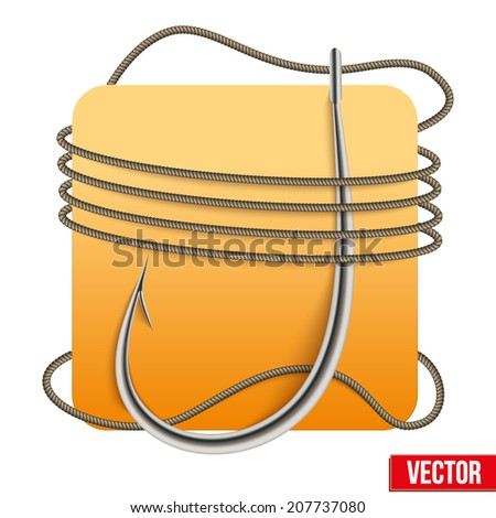 Realistic fishing hook with rope and space. Vector illustration isolated on white background. - stock vector