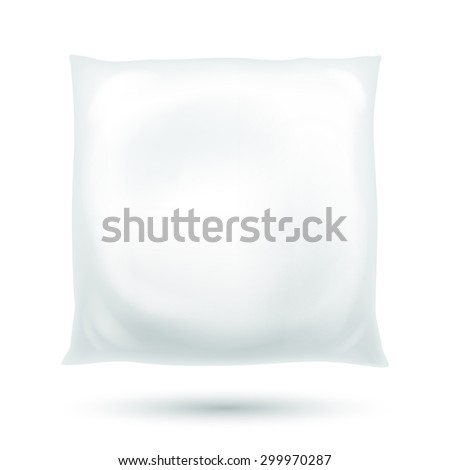 Realistic fluffy pillow vector illustration isolated on white.