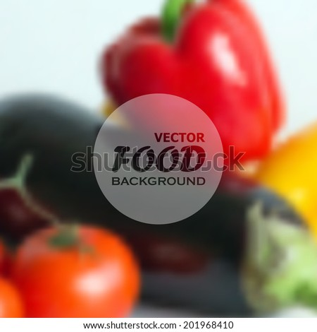 realistic food background of different vegetables (pepper, tomato, eggplant). vector design.  - stock vector