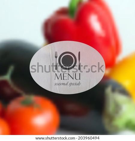 realistic food background of different vegetables (pepper, tomato, eggplant). vector restaurant menu design.  - stock vector