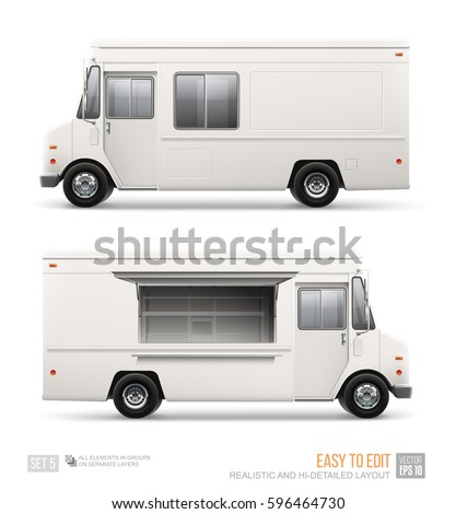 Realistic Food Truck vector template for car branding and advertising isolated on white. delivery Van for Brand Identity street cafe and Fast-Food transport advertising