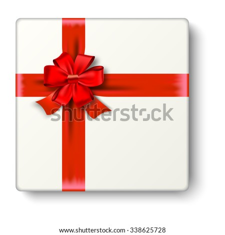 Realistic gift icon with red ribbon an bow, top view. Vector illustration.