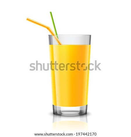 Realistic glass full of orange juice drink with cocktail straw isolated on white background vector illustration