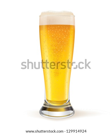 Realistic glass of beer with water drops