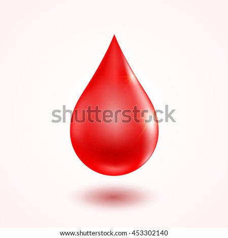 Realistic glossy blood drop sign with soft shadow. Isolated element on white background. Vector illustration.