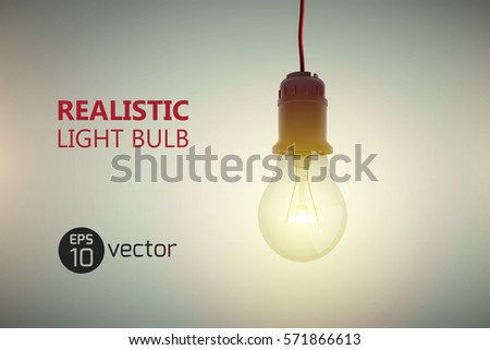 Realistic glow bulb background with luminant lens end lamp hanging on wire with editable text on gradient background vector illustration