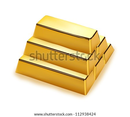 Realistic gold bars stack on white background - stock vector