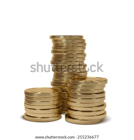 Realistic gold coin stacks, Vector object
