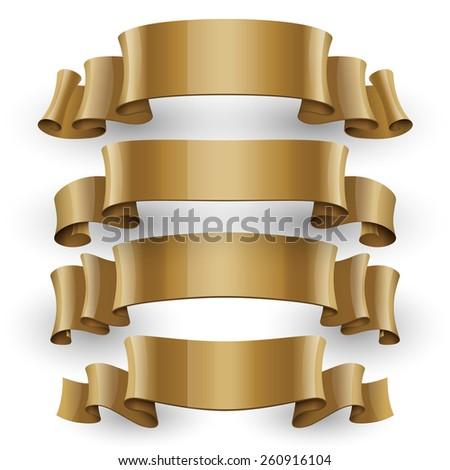 Realistic Gold Glossy vector ribbons set vector - stock vector