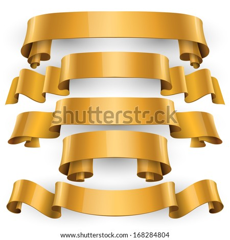 Realistic Gold Glossy vector ribbons with a stripe for your design project - stock vector