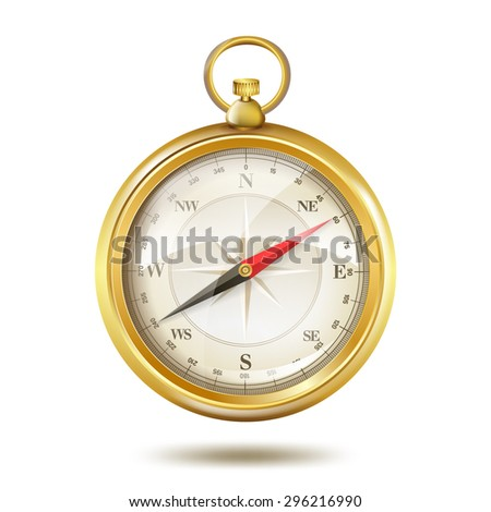 realistic golden compass on white - stock vector