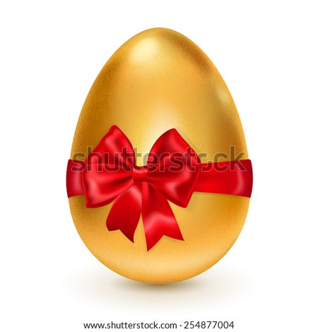 Realistic golden egg tied a red ribbon with a bow. With shadow on white background