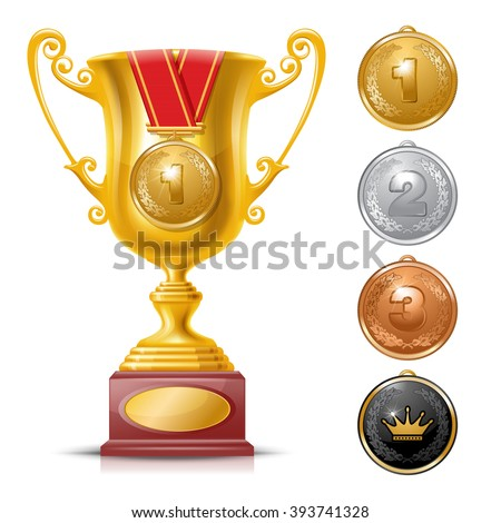 Realistic Golden Trophy Cup Set Isolated on White Background with Golden Medal. Winner Cup. Winner Concept.  Golden, Silver and Bronze Medals. There is a Place For Your Text. Vector Illustration. - stock vector