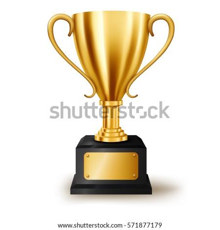 Realistic Golden Trophy Text Space Vector Stock Vector 571877179