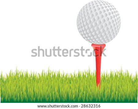 realistic golf ball on grass isolated