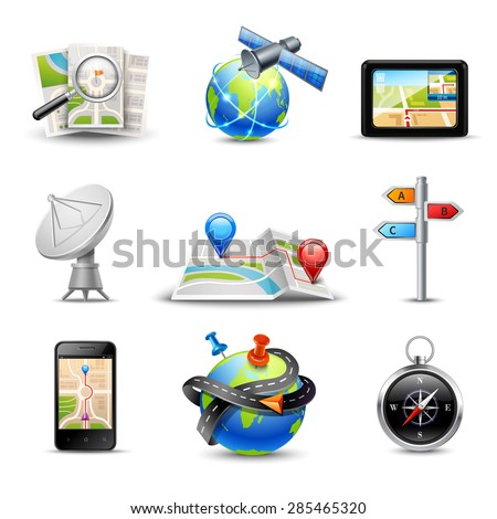 Realistic gps route search and navigation icons set isolated vector illustration - stock vector