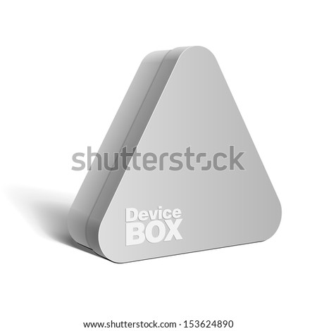Realistic gray Package triangular shape Box. For Software, electronic device and other products. Vector illustration. - stock vector