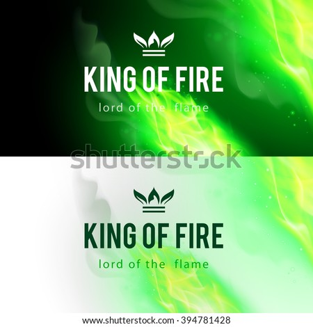 Realistic Green Fire Flames Effect on Black and White Backgrounds - stock vector