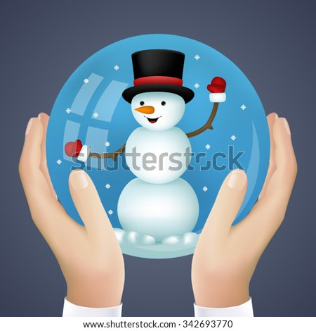 Realistic Hand Holding Cristmas Winter New Year Snowball Snowman Icon Vector Illustration - stock vector