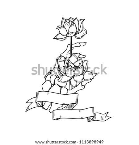 Realistic Hand Skeleton With Lotus Flower In White Background Vector Illustration Handmade Black Line
