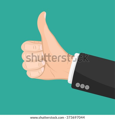 Realistic hand with thumbs up. Like. Dislike. Good. Ok. Flat design for social networks, web sites. Business concept agreement background. Successful partnership and respect  - stock vector