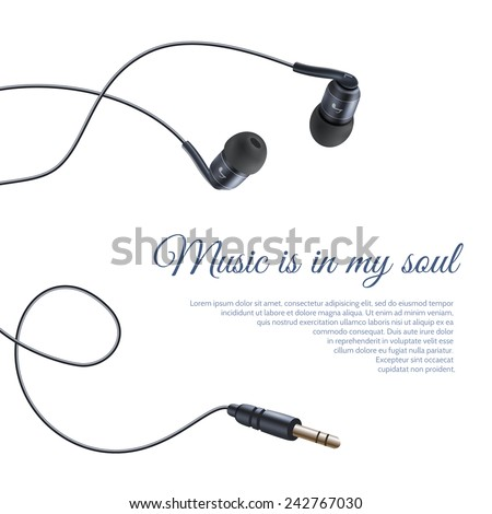 Realistic headphones headset sound equipment accessory music poster vector illustration - stock vector