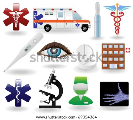 Realistic Healthcare and  Medical Icons and Symbols Set - stock vector
