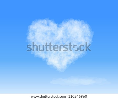 Realistic Heart shaped cloud in the blue sky. Valentine`s day. Vector background - stock vector