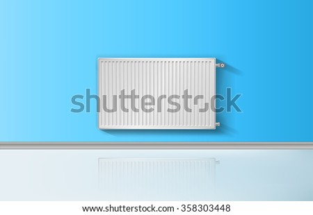 Realistic heating radiator with temperature knob vector illustration