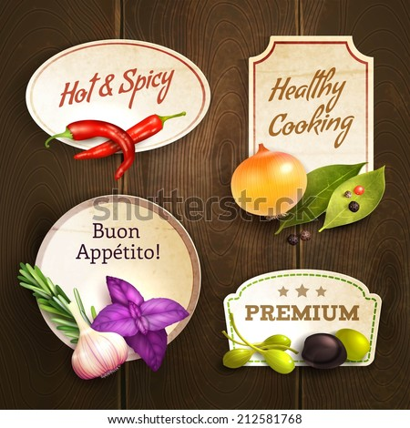 Realistic herbs and spices decorative kitchen badges set on wooden background isolated vector illustration - stock vector