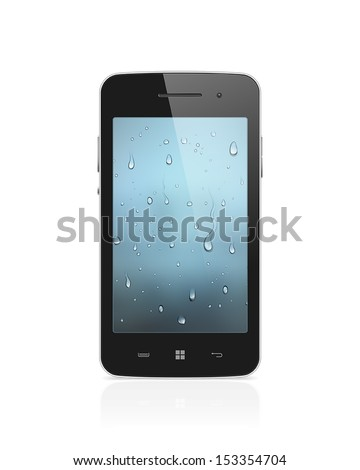 Realistic, high detailed, fully editable vector illustration of modern smartphone with water drops wallpaper on screen isolated on white background - stock vector