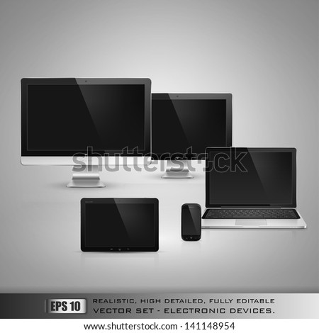 Realistic high detailed vector illustration of electronic devices on gray background. - stock vector