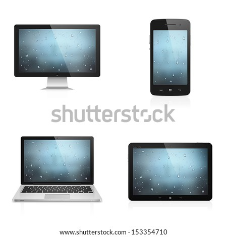 Realistic high detailed vector illustration of electronic devices with water drops wallpaper on screen isolated on white background - stock vector