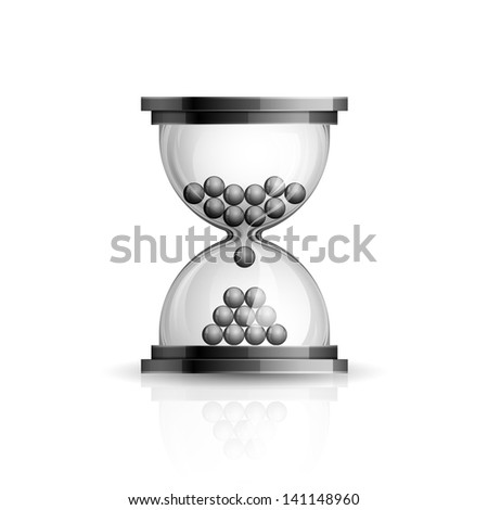 Realistic high detailed vector illustration of hourglass icon on white background - stock vector