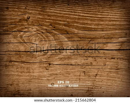 Realistic highly detalized wood background. Old wooden plank. - stock vector