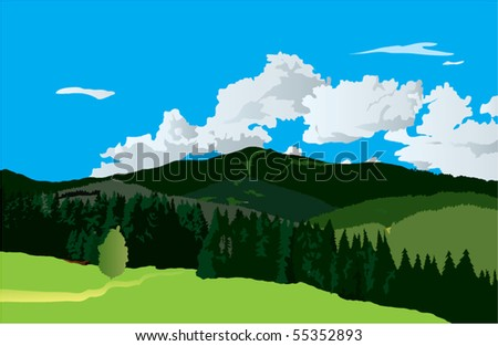 realistic hills landscape - stock vector