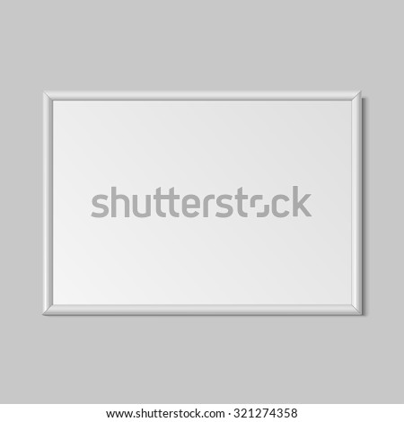 Realistic horizontal vertical frame for paintings or photographs hanging on the wall. Vector illustration. - stock vector