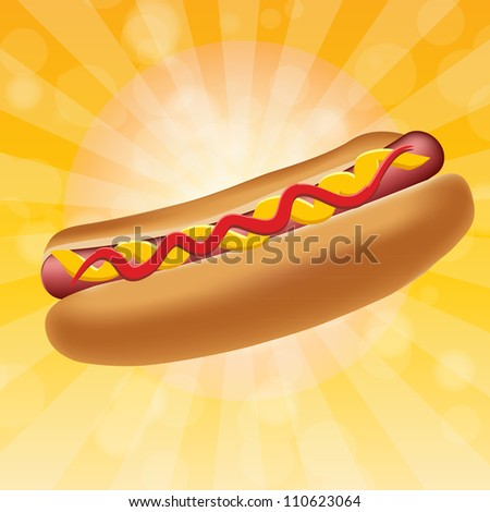 Realistic hot dog vector illustration - stock vector