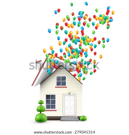 Realistic house with colorful balloons, vector