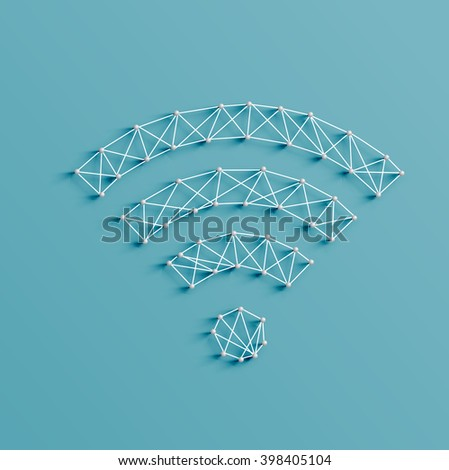 Realistic illustration of a wifi icon made by pins and strings, vector - stock vector