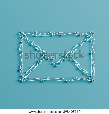 Realistic illustration of an email icon made by pins and strings, vector - stock vector
