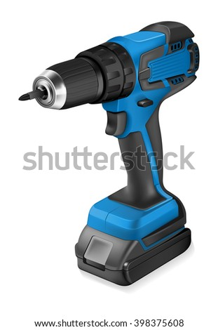 Realistic illustration of cordless drill - stock vector