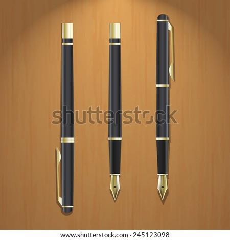 Realistic illustration of golden pen in three variations on wooden board - stock vector