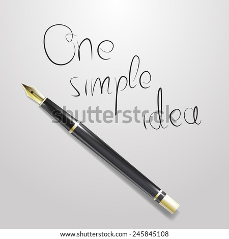 Realistic illustration of golden pen with one simple idea inscription - stock vector