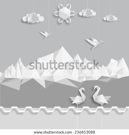 Realistic illustration, of origami clouds, birds and sun. Vector EPS 10 - stock vector