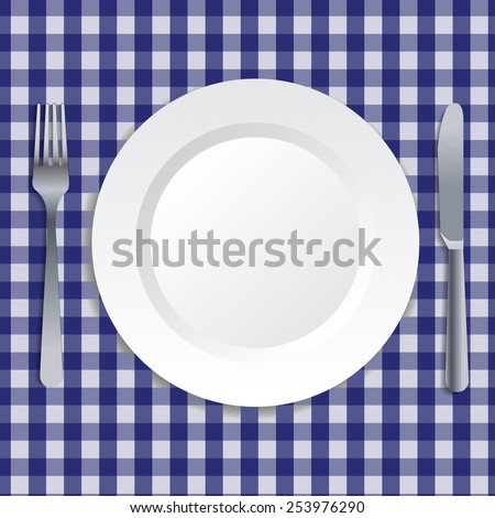 Realistic illustration of plate, fork and knife. Vector art. - stock vector